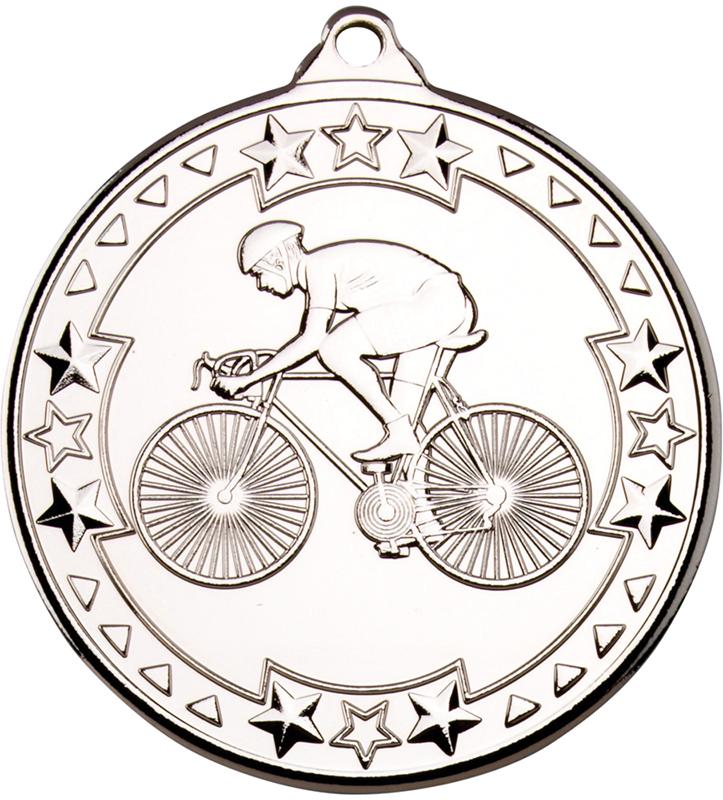 "Silver Tri Star Cycling Medal 50mm (2"")"