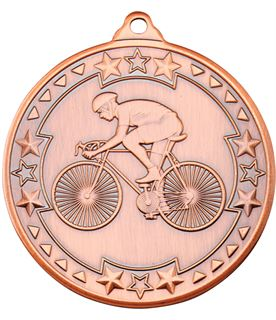 "Bronze Tri Star Cycling Medal 50mm (2"")"