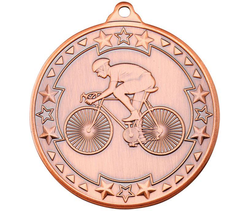 """Bronze Tri Star Cycling Medal 50mm (2"""")"""