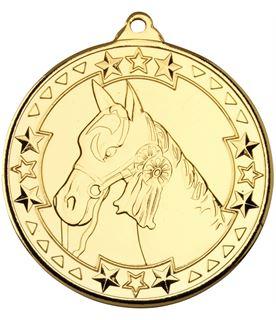"Gold Tri Star Horse Medal Gold 50mm (2"")"