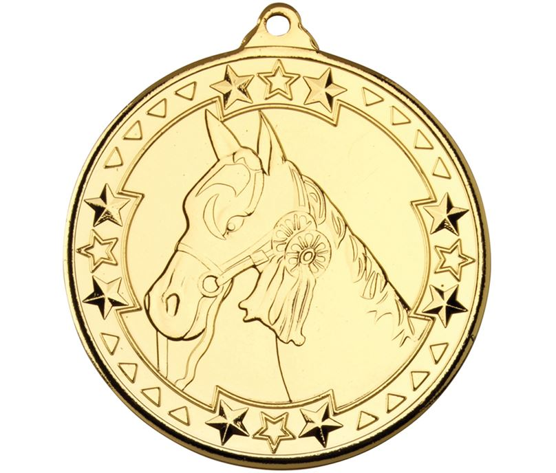 "Gold Tri Star Horse Medal Gold 50mm (2"")"