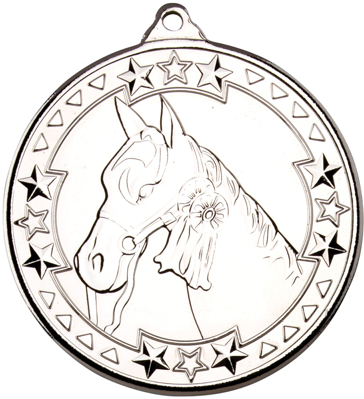 "Silver Tri Star Horse Medal Silver 50mm (2"")"