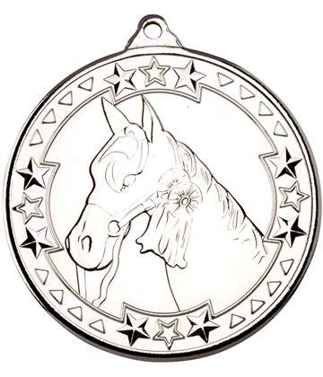"Silver Tri Star Horse Medal Silver 50mm (2"")"