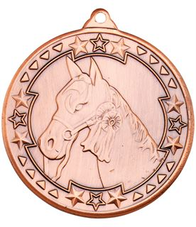 "Bronze Tri Star Horse Medal Bronze 50mm (2"")"