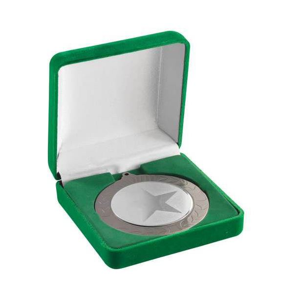 Deluxe Green Velvet Lined Medal Box 50, 60 or 70mm Recess