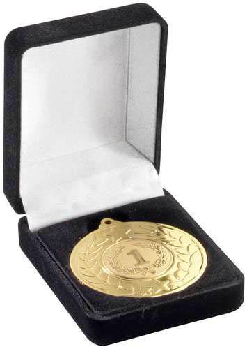 Deluxe Black Velvet Lined Medal Box 40 & 50mm Recess