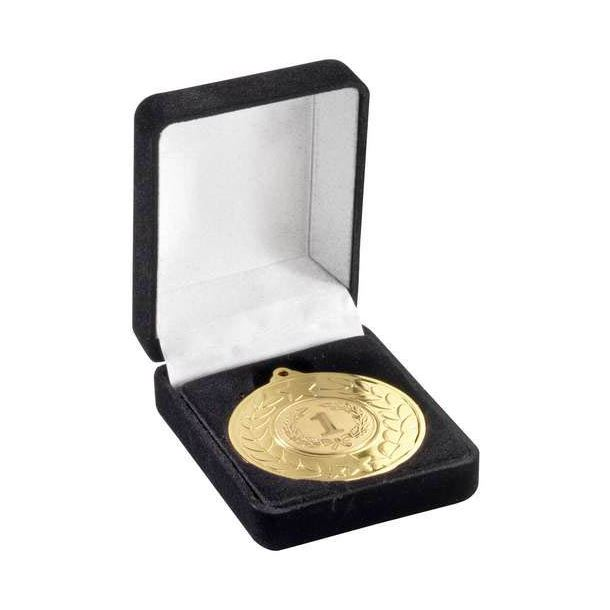 Deluxe Black Velvet Lined Medal Box 40mm or 50mm Recess