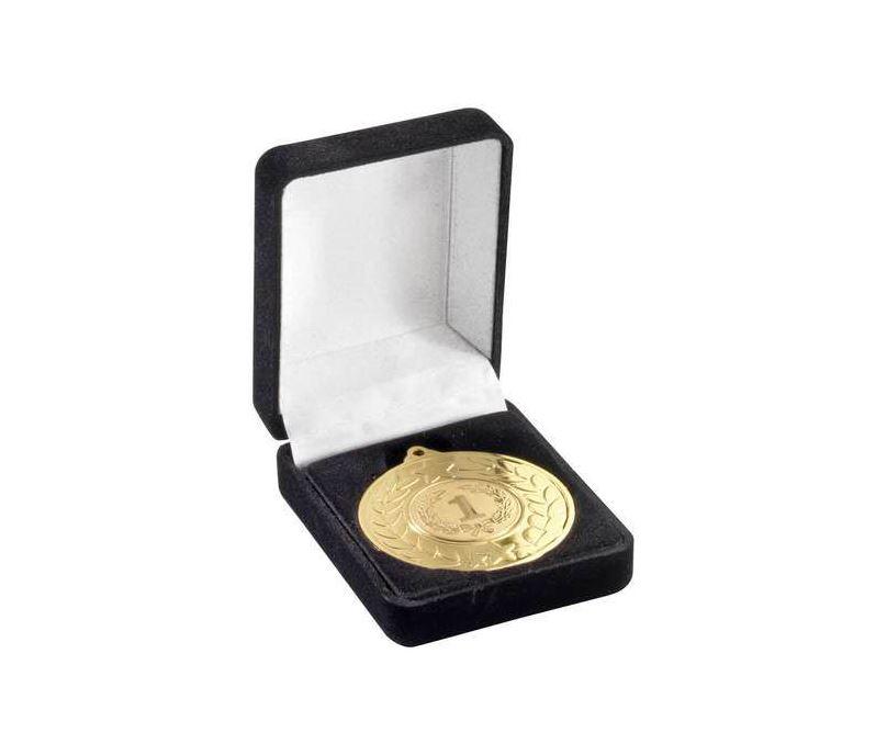 Deluxe Black Velvet Lined Medal Box 40mm or 50mm Recess