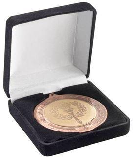 Deluxe Black Velvet Lined Medal Box 50, 60 or 70mm Recess
