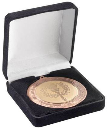 Deluxe Black Velvet Lined Medal Box 50, 60 or 70mm Recess