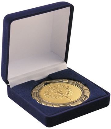 Deluxe Blue Velvet Lined Medal Box 50, 60 or 70mm Recess