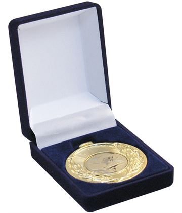Deluxe Blue Velvet Lined Medal Box 40mm or 50mm Recess