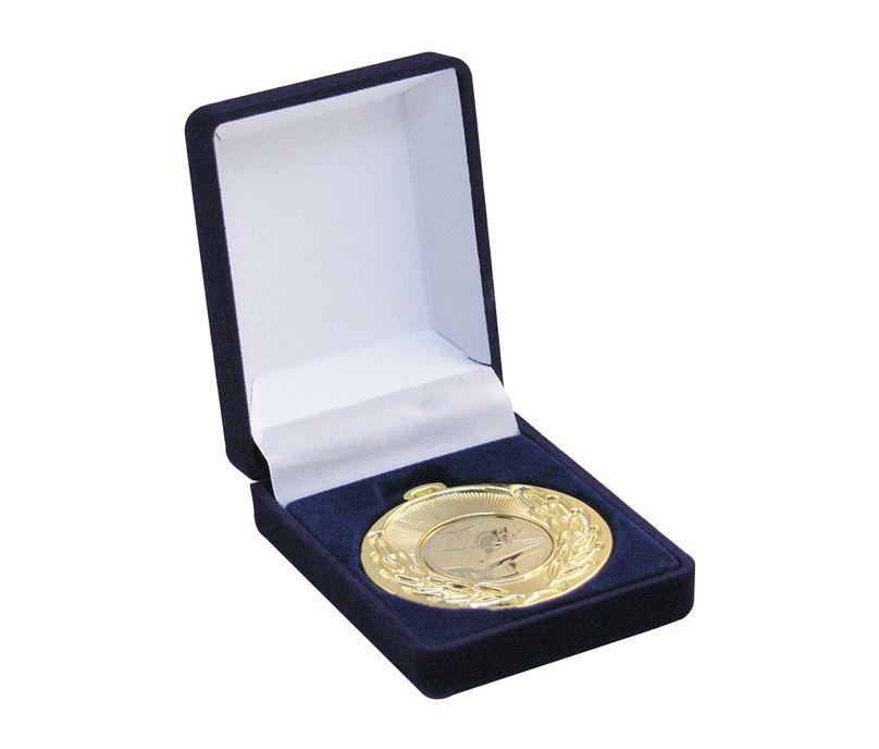 Deluxe Blue Velvet Lined Medal Box 40mm or 50mm Recess