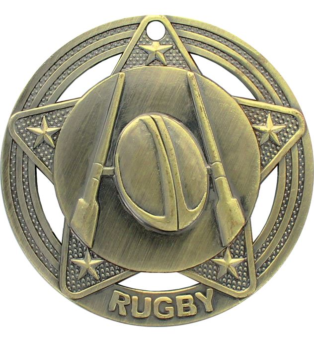 """Rugby Medal by Infinity Stars Antique Gold 50mm (2"""")"""