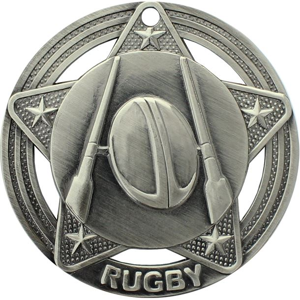 "Rugby Medal by Infinity Stars Antique Silver 50mm (2"")"