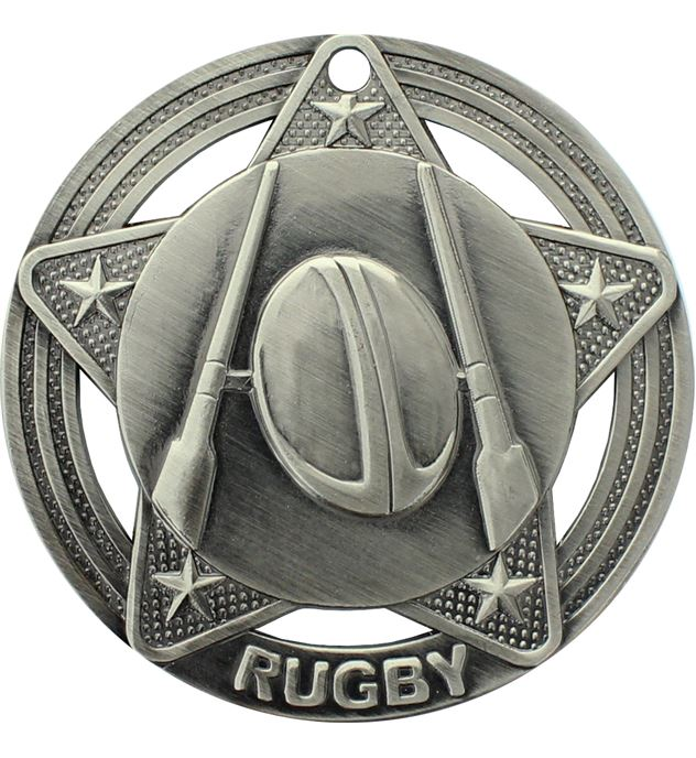 """Rugby Medal by Infinity Stars Antique Silver 50mm (2"""")"""