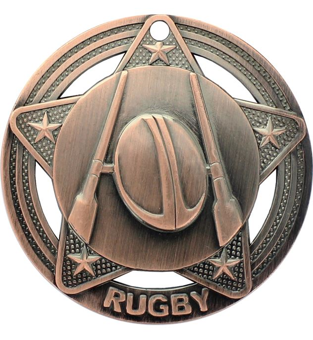 "Rugby Medal by Infinity Stars Antique Bronze 50mm (2"")"