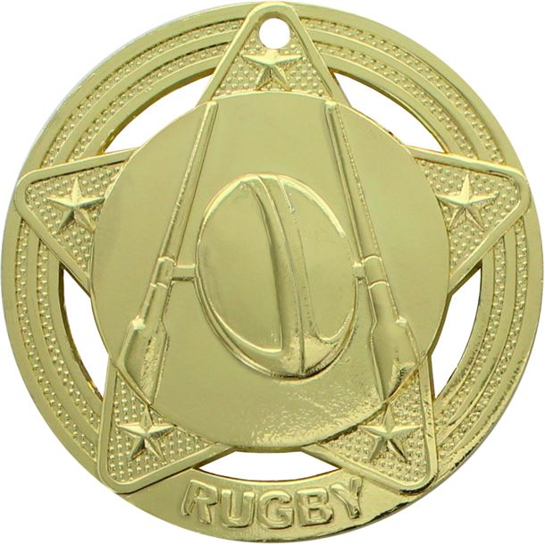 """Rugby Medal by Infinity Stars Gold 50mm (2"""")"""