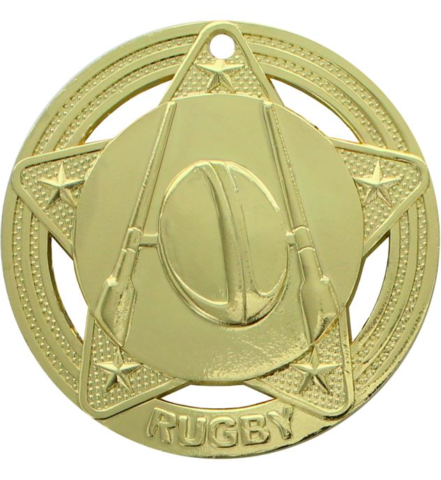 "Rugby Medal by Infinity Stars Gold 50mm (2"")"