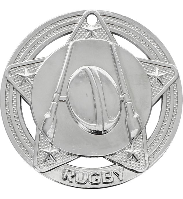 """Rugby Medal by Infinity Stars Silver 50mm (2"""")"""