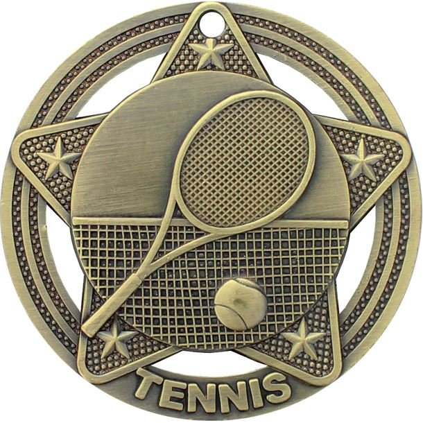 """Tennis Medal by Infinity Stars Antique Gold 50mm (2"""")"""
