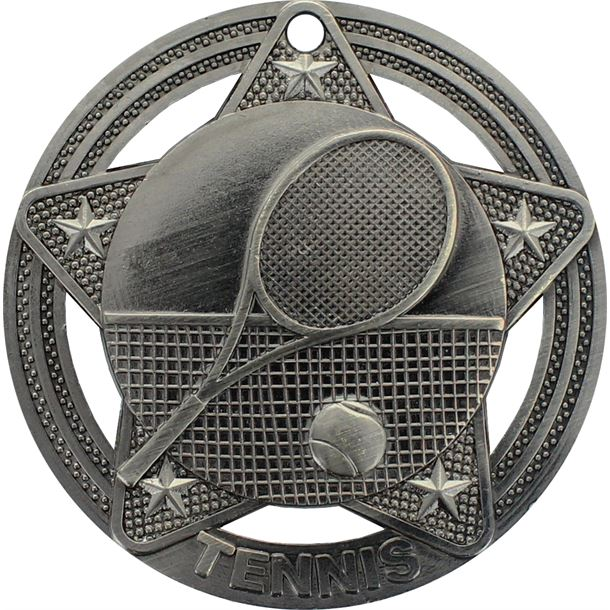 "Tennis Medal by Infinity Stars Antique Silver 50mm (2"")"