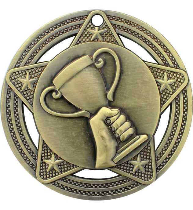 """Trophy Cup Medal by Infinity Stars Antique Gold 50mm (2"""")"""