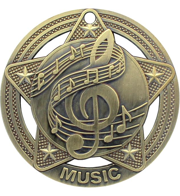 "Music Medal by Infinity Stars Antique Gold 50mm (2"")"