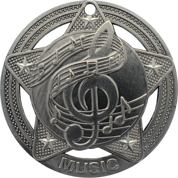 """Music Medal by Infinity Stars Antique Silver 50mm (2"""")"""