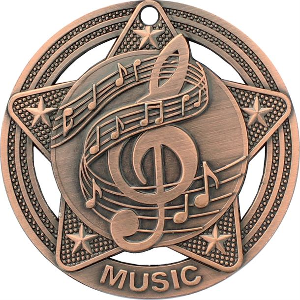 """Music Medal by Infinity Stars Antique Bronze 50mm (2"""")"""