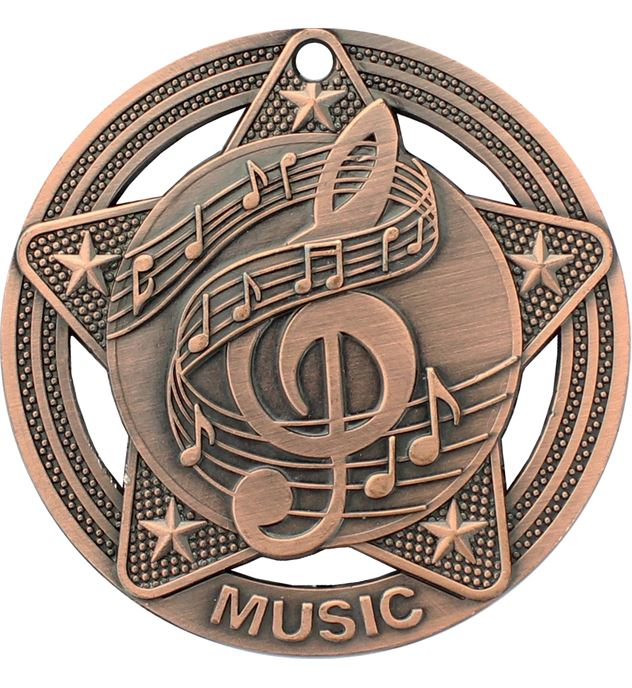"Music Medal by Infinity Stars Antique Bronze 50mm (2"")"