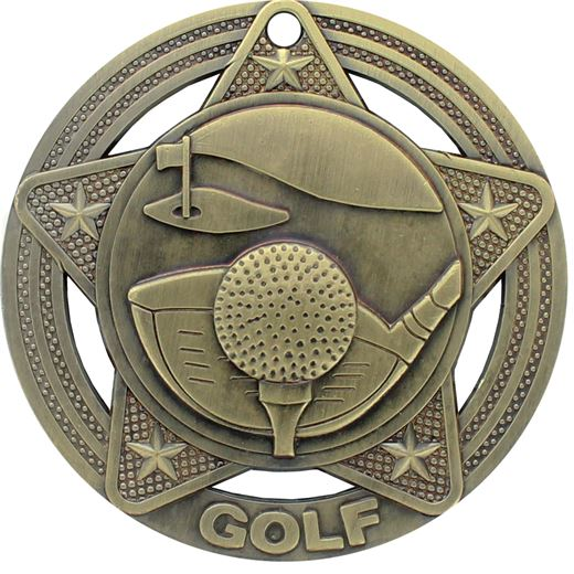 """Golf Medal by Infinity Stars Antique Gold 50mm (2"""")"""