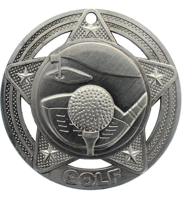"""Golf Medal by Infinity Stars Antique Silver 50mm (2"""")"""