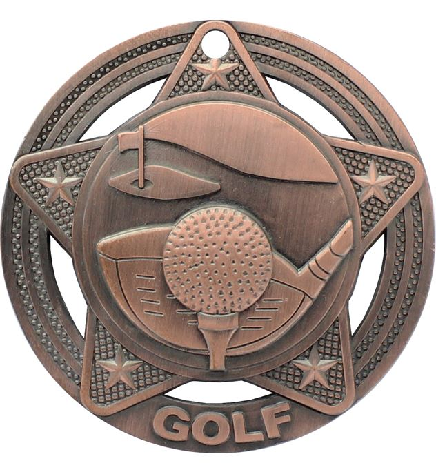 """Golf Medal by Infinity Stars Antique Bronze 50mm (2"""")"""