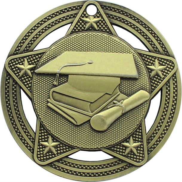 "Academic Medal by Infinity Stars Antique Gold 50mm (2"")"