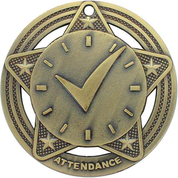 "Attendance Medal by Infinity Stars Antique Gold 50mm (2"")"
