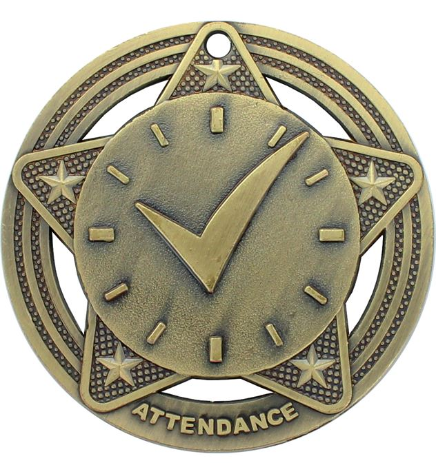 """Attendance Medal by Infinity Stars Antique Gold 50mm (2"""")"""