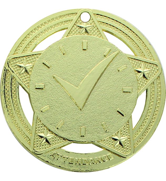 """Attendance Medal by Infinity Stars Gold 50mm (2"""")"""