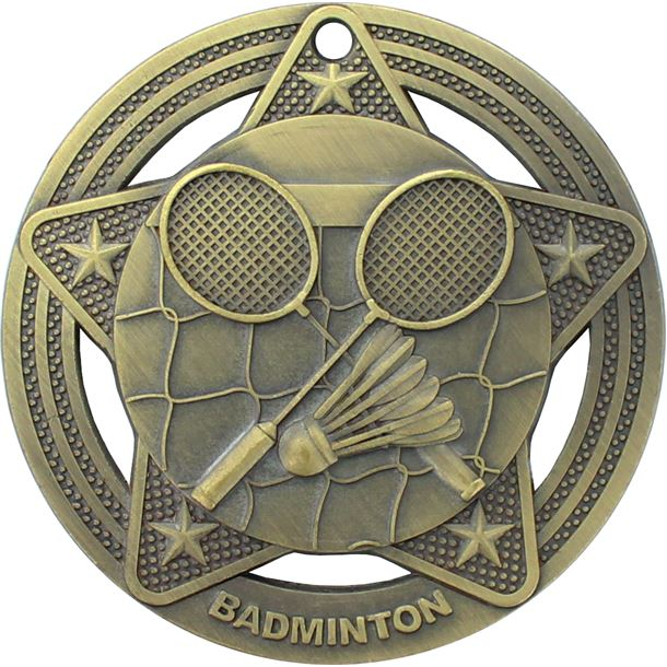 "Badminton Medal by Infinity Stars Antique Gold 50mm (2"")"