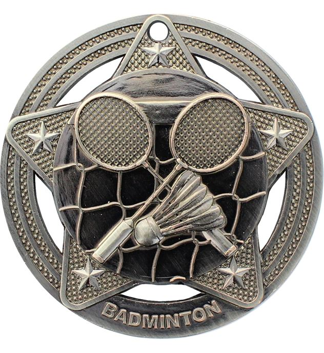 "Badminton Medal by Infinity Stars Antique Silver 50mm (2"")"