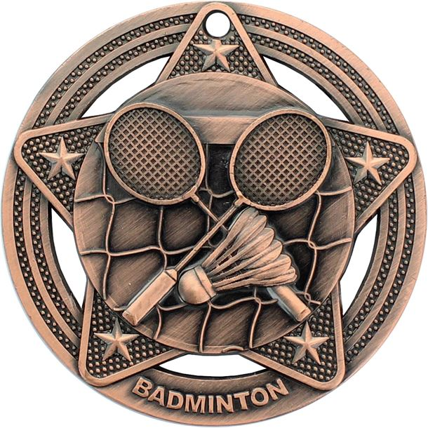 """Badminton Medal by Infinity Stars Antique Bronze 50mm (2"""")"""