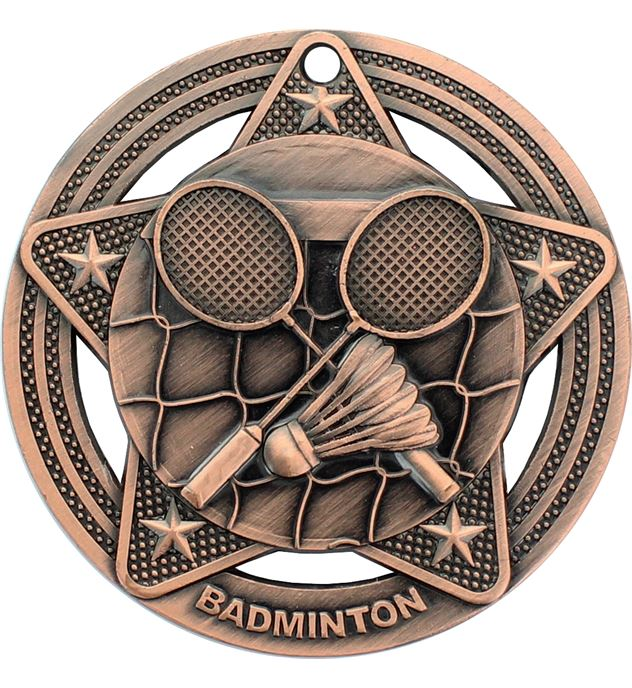 "Badminton Medal by Infinity Stars Antique Bronze 50mm (2"")"