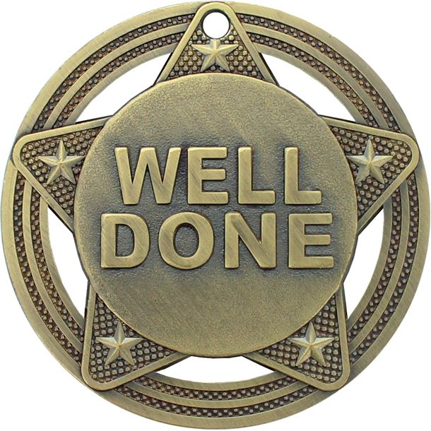 """Well Done Medal by Infinity Stars Antique Gold 50mm (2"""")"""