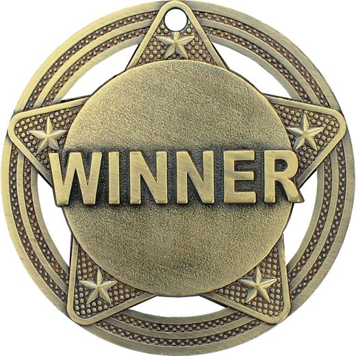 """Winner Medal by Infinity Stars Antique Gold 50mm (2"""")"""