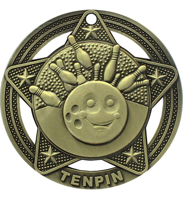 "Tenpin Bowling Medal by Infinity Stars Antique Gold 50mm (2"")"