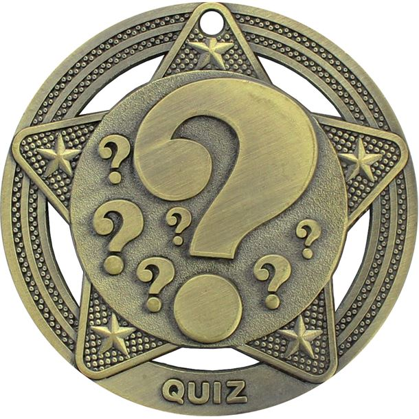 """Quiz Medal by Infinity Stars Antique Gold 50mm (2"""")"""