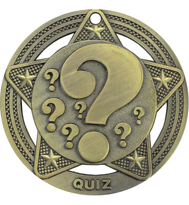 "Quiz Medal by Infinity Stars Antique Gold 50mm (2"")"