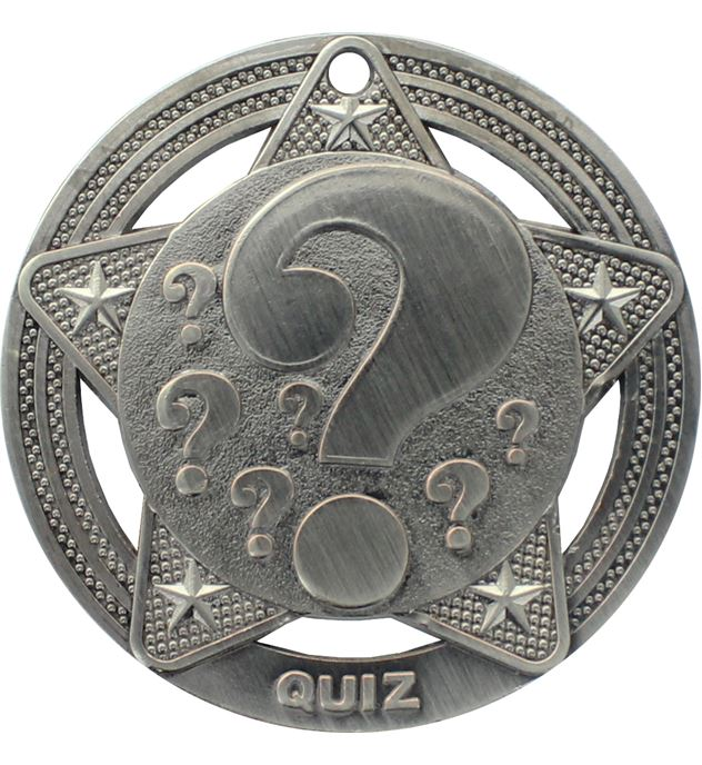 """Quiz Medal by Infinity Stars Antique Silver 50mm (2"""")"""