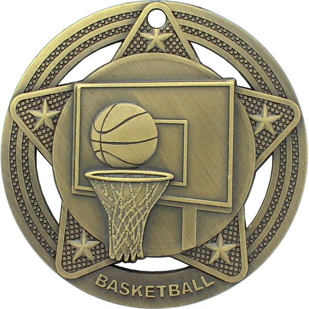 """Basketball Medal by Infinity Stars Antique Gold 50mm (2"""")"""