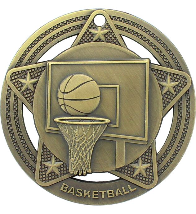 "Basketball Medal by Infinity Stars Antique Gold 50mm (2"")"